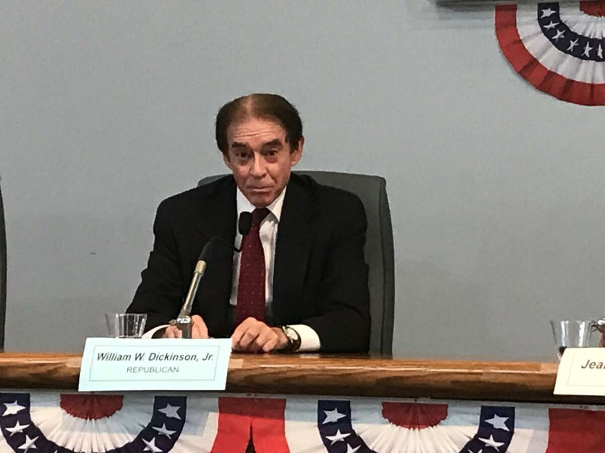Wallingford Mayor William Dickinson speaks during an October 2019 candidates' forum at Town Hall.
