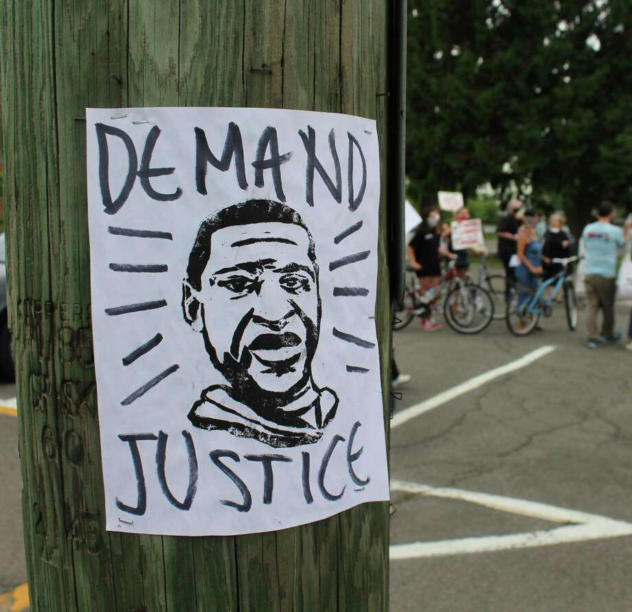 A photo of George Floyd at a Westport protest on June 5. Photo: Contributed Photo / Connecticut Post