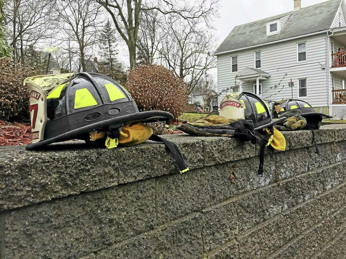 Helmets worn by Torrington firefighters.