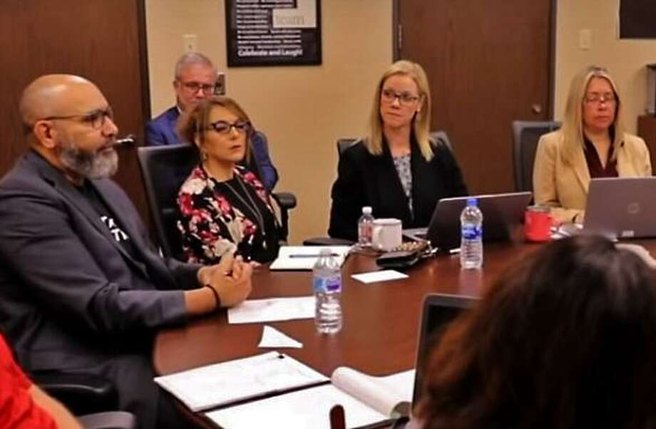 Fort Bend ISD Superintendent Charles Dupre, left, leads a planning meeting in a video posted to the district website on March 22. Photo: Fort Bend ISD