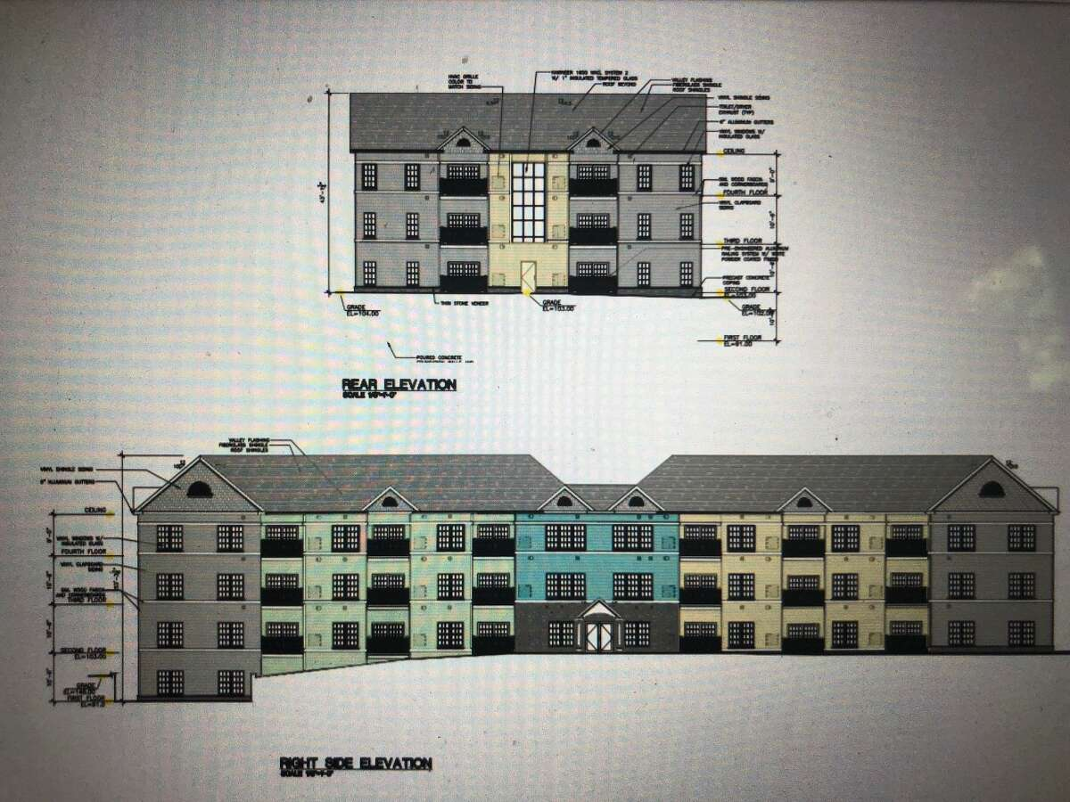 A rendering of the apartment building proposed to be built at 0 Petremont Lane, a road off of River Road.