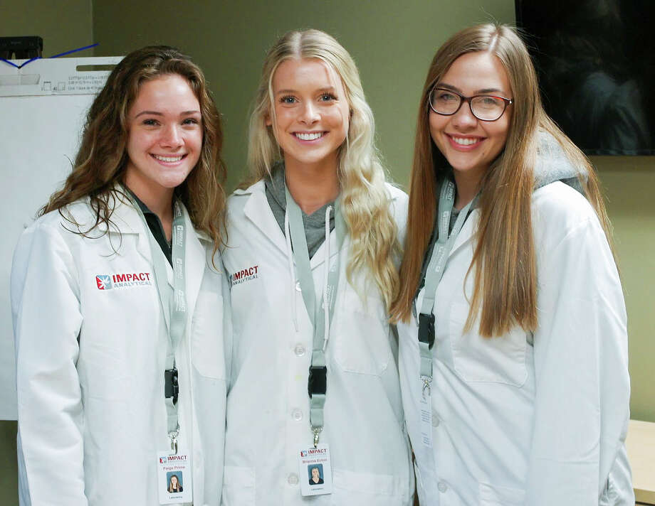 Impact Analytical doubled its internship capacity this year, welcoming biochemistry majors Paige Prime, left, Brianna Ecton, center, and Alexis Samalik, right. (Photo provided)
