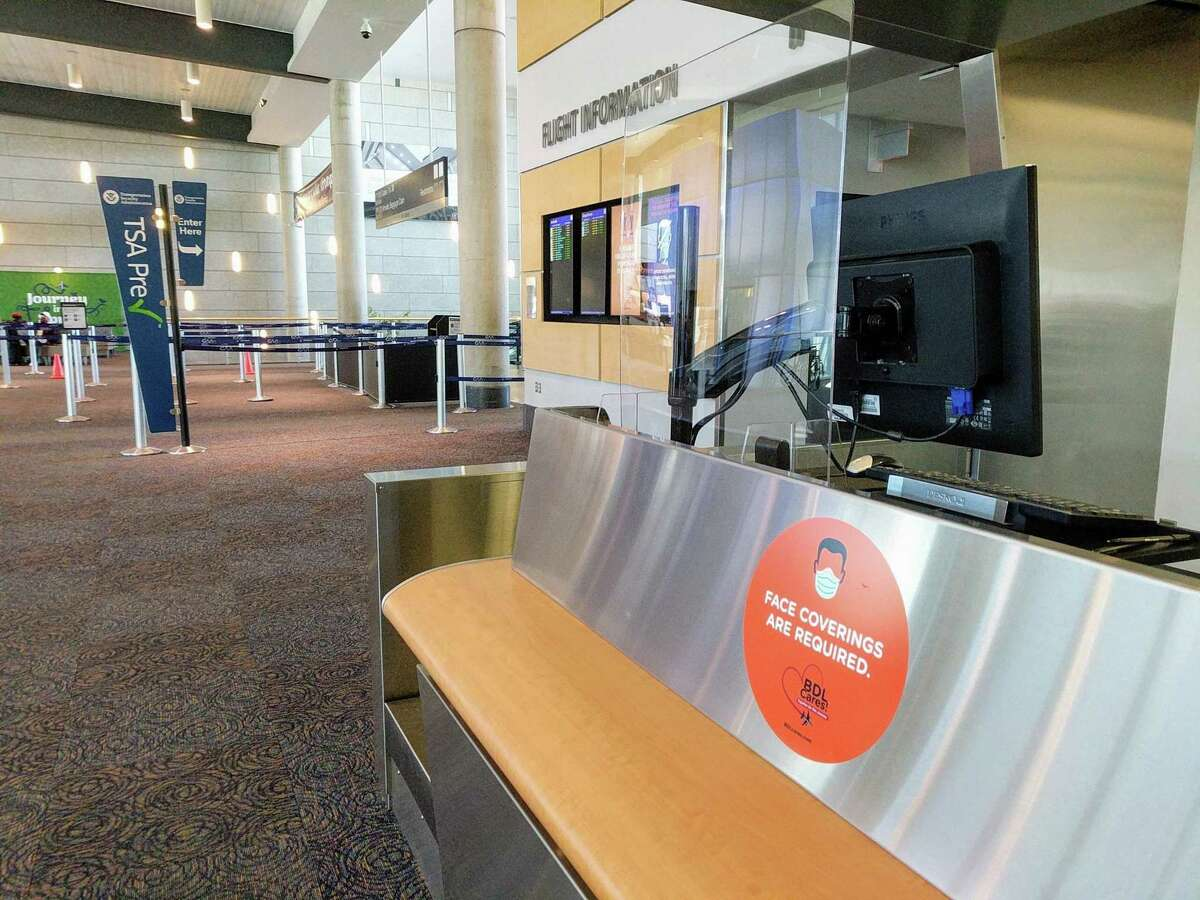 With passengers gradually returning to Bradley International Airport in Windsor Locks, Conn., there are new measures in place to keep travelers safe in the age of the coronavirus pandemic. Plastic shields are being installed at high passenger interaction points throughout the terminal.