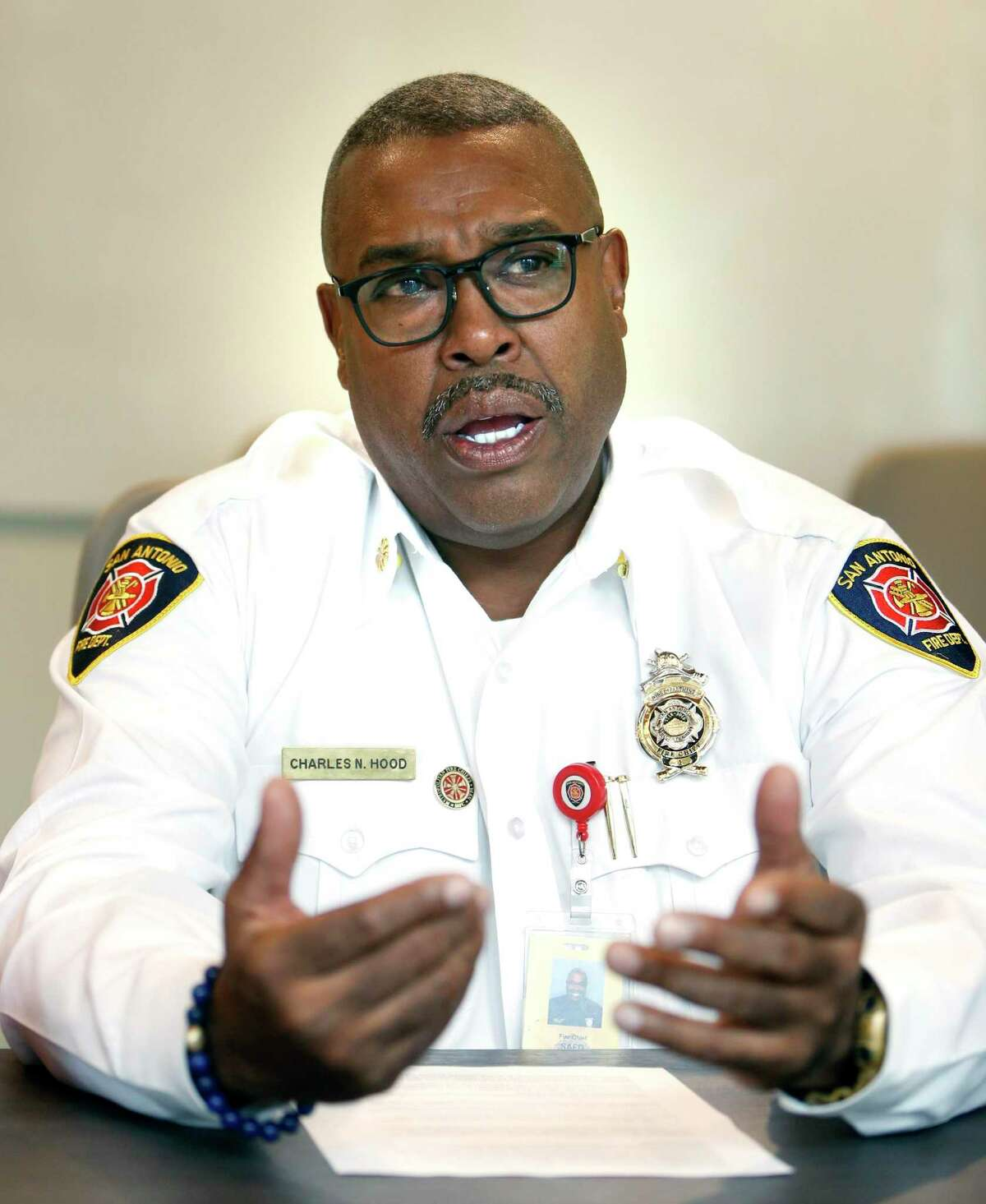 San Antonio Fire Chief Charles Hood could be heard cursing at an attorney Tuesday during a Zoom recording of an arbitration hearing for a fired firefighter.