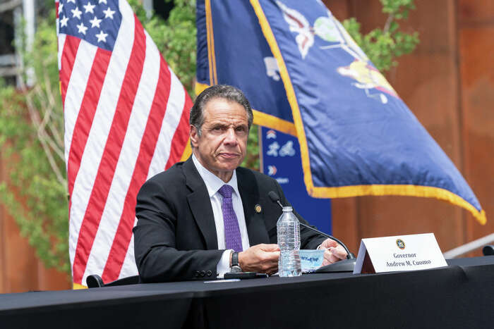 """Governor Andrew Cuomo holds daily press briefing at the foot of Mario Cuomo Bridge in Tarrytown. Cuomo is opening up a """"shared use path"""" for pedestrians and bike riders. The path is 3.6 miles long and features 6 scenic overlooks, public art and interactive displays."""