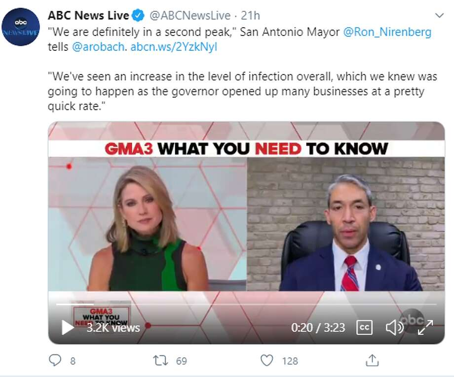 "Mayor Ron Nirenberg joined Amy Robach on ABC's ""GMA3"" early Monday and then Don Lemon on ""CNN Tonight"" in the evening. In each of the conversations, he discussed the ""spike"" in infections, which he attributed to more activities being introduced as Texas reopens. Photo: Twitter Screengrab"