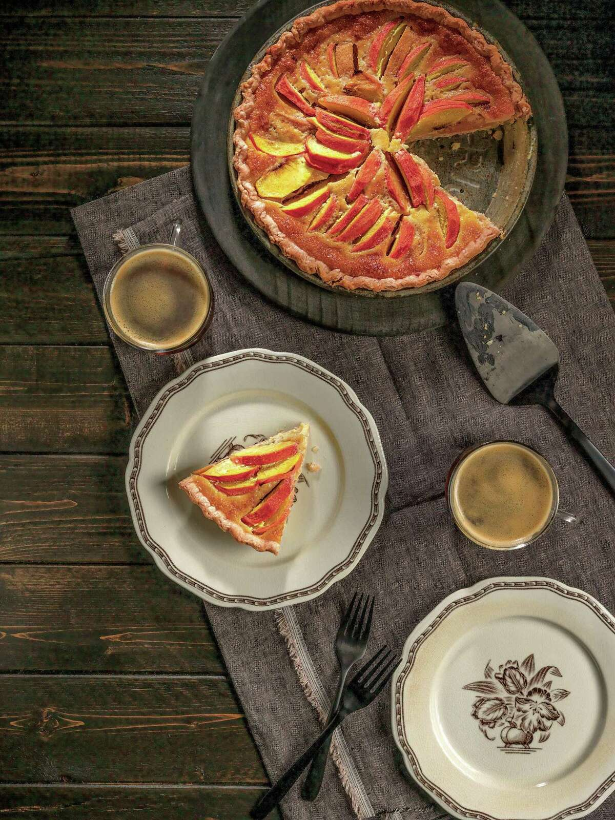 """Laura Bush's Peach Cream pie from""""Recipes from the President's Ranch: Food People Like to Eat"""" by Matthew Wendel."""