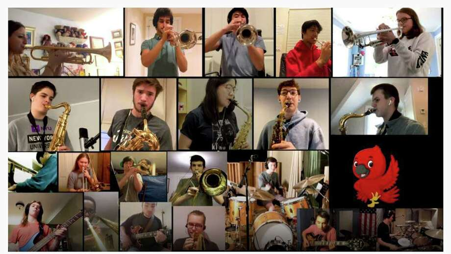 The Greenwich High School Jazz Ensemble is making music together again -- virtually -- with a new YouTube compliation of their sounds. Photo: YouTube Screenshot