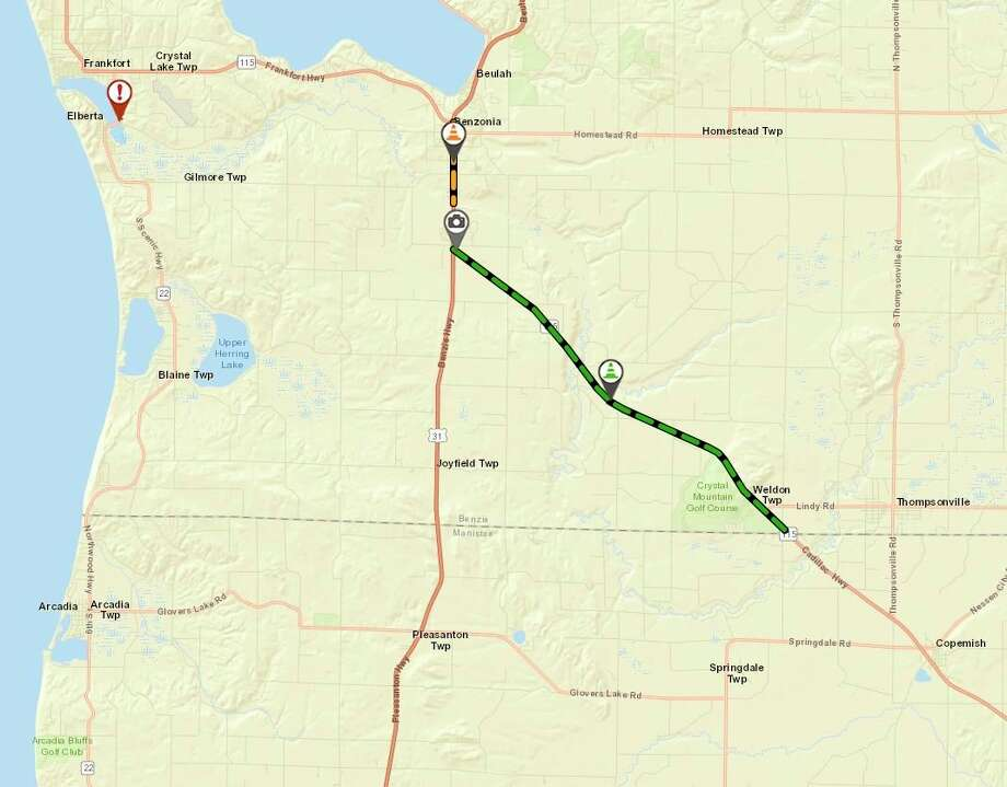 About 8 miles of M-115 from South Pioneer Road to US-31 near Benzonia will be resurfaced, starting on June 22. (Screenshot/MDOT/MiDrive map)