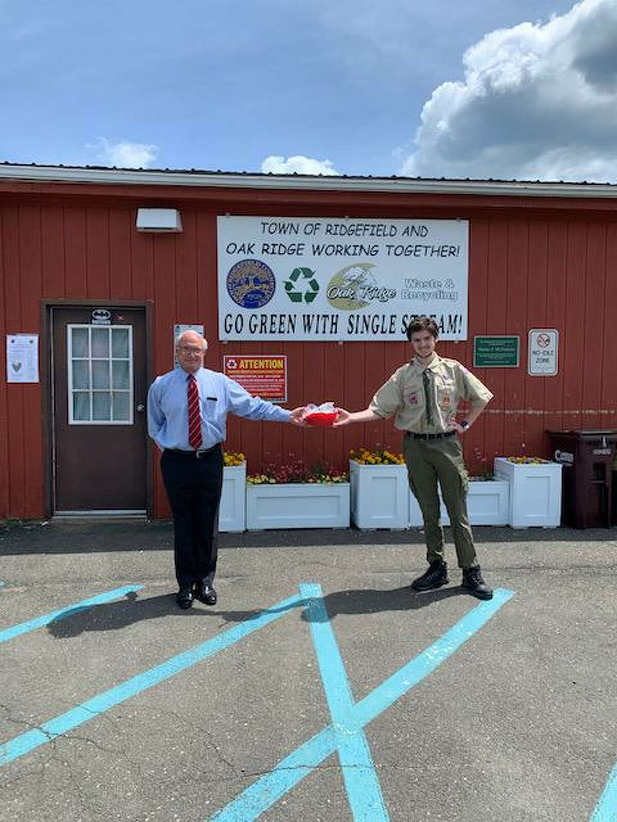 Grady Griffin recently completed his Eagle Scout Project for Troop 76 by designing five planters to beautify the Ridgefield Recycling Center. He designed the planters, ordered materials, coordinated volunteers and created work sessions to build them. Griffin also met with First Selectman Rudy Marconi during the project.