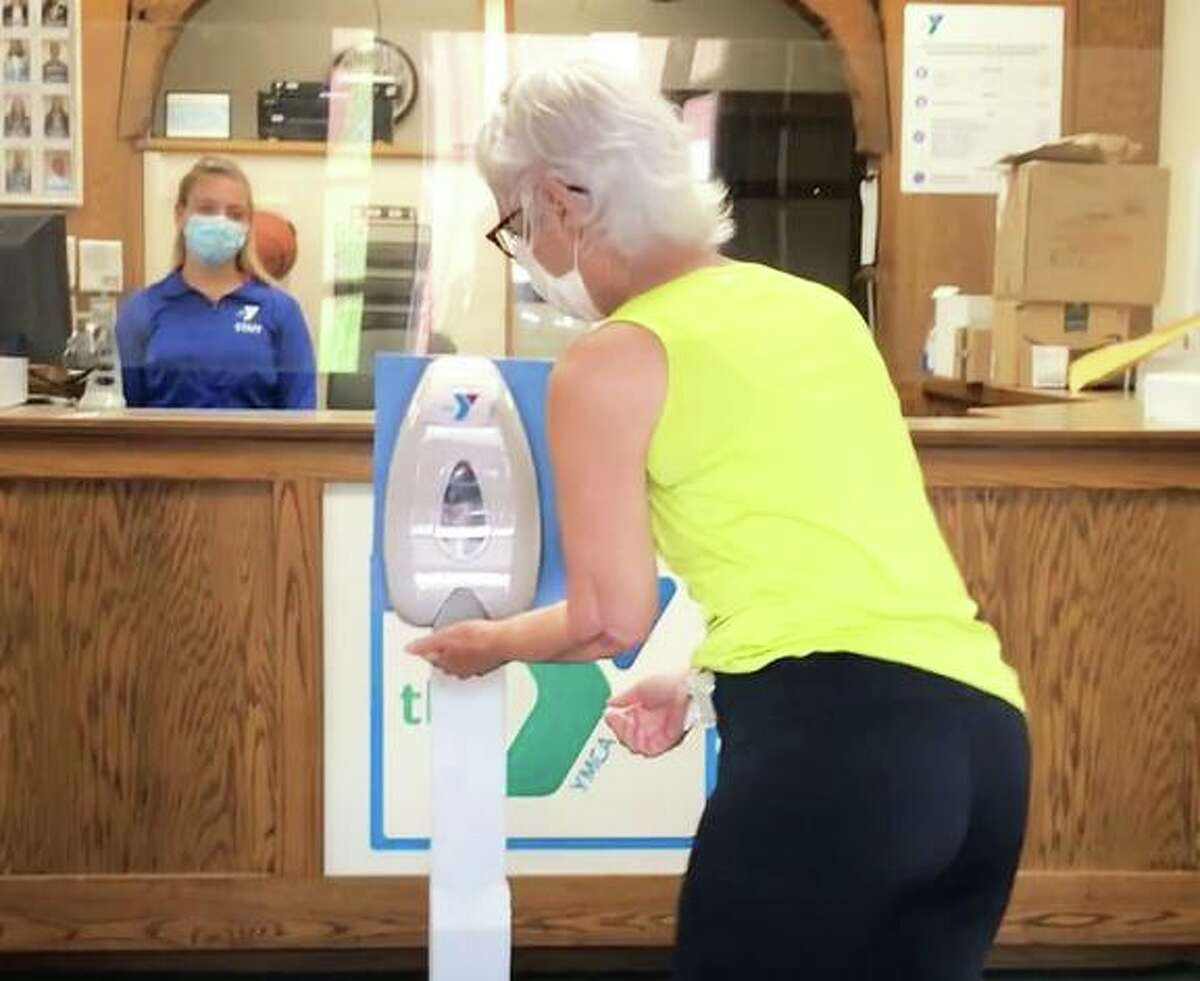 All employees and patrons of the Middlesex YMCA in Middletown will see disinfecting stations such as this one throughout the facility when it reopens June 22.
