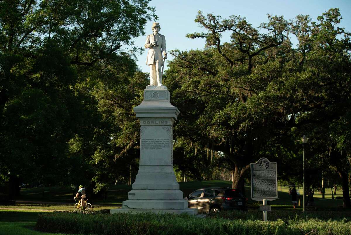 The Dick Dowling statue at Hermann Park, shown here June 11, 2020, in Houston, is slated to be removed by Friday, Mayor Sylvester Turner said last week.