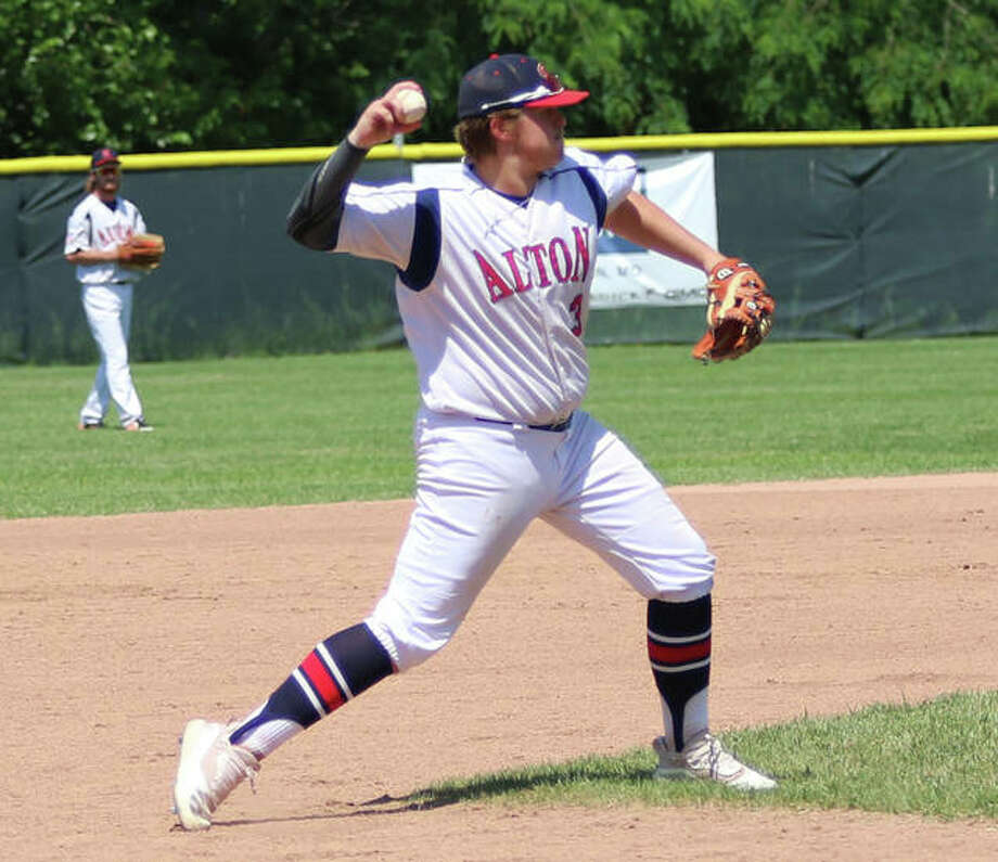 Alton third baseman Adam Stilts throws to first for an out in Sunday's AAA Tourney semifinal against Valmeyer at Ronsick Field in Washington, Missouri. Photo: Greg Shashack | The Telegraph