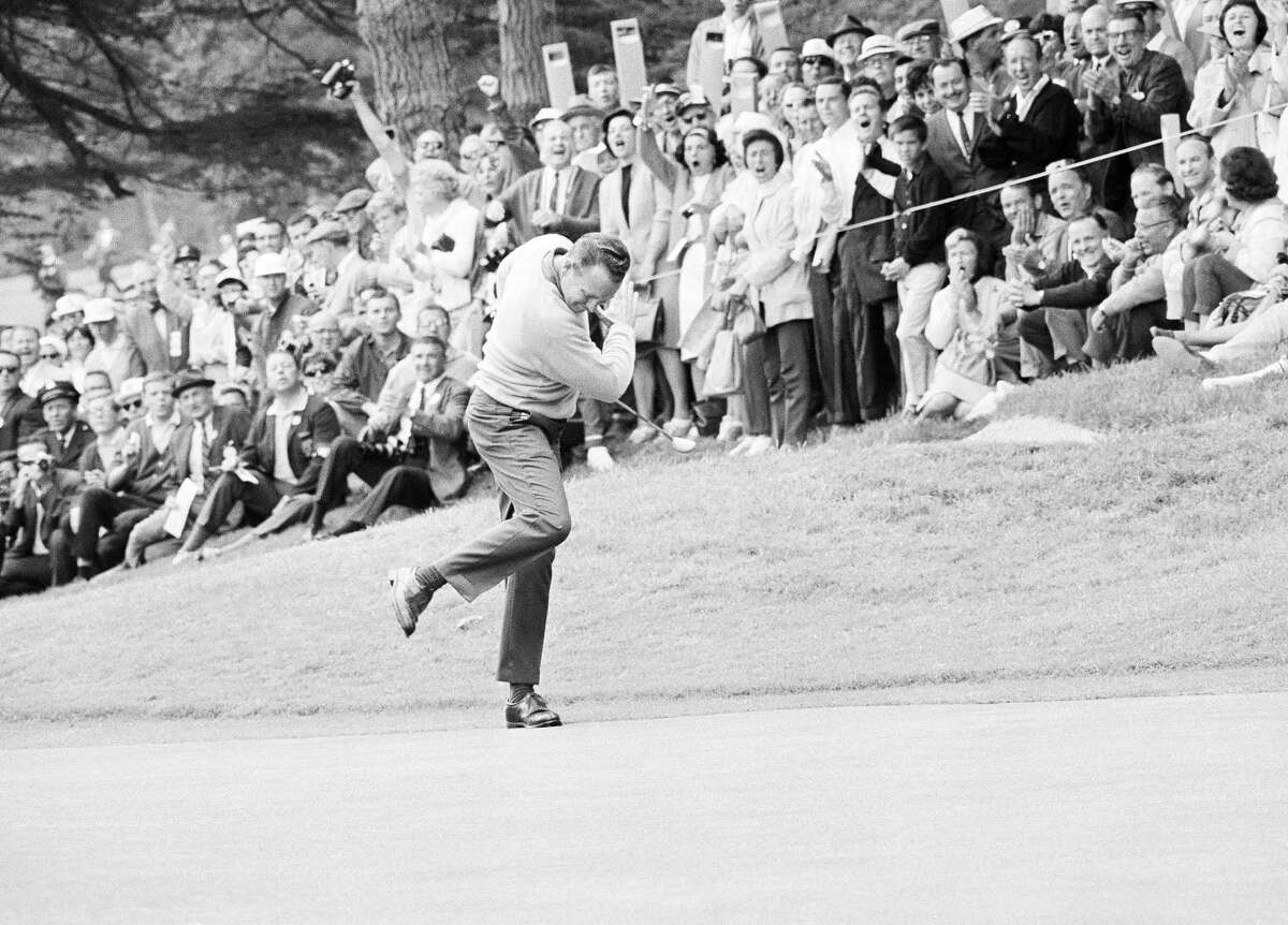 Billy Casper reacts to a birdie on No. 12 at the Olympic Club in an 18-hole playoff with Arnold Palmer in the 1966 U.S. Open. Casper, who erased a seven-shot deficit in the fourth round, won.