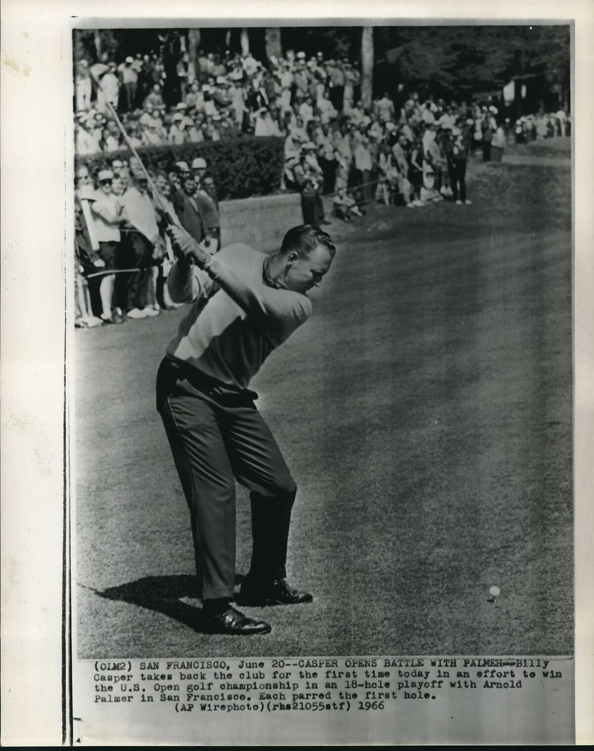 Casper, Billy (Golf). San Francisco. Billy Casper takes back the club for the first time today in an effort to win the U.S. Open golf championship in an 18-hole playoff with Arnold Palmer in San Francisco. Each parred the first hole.