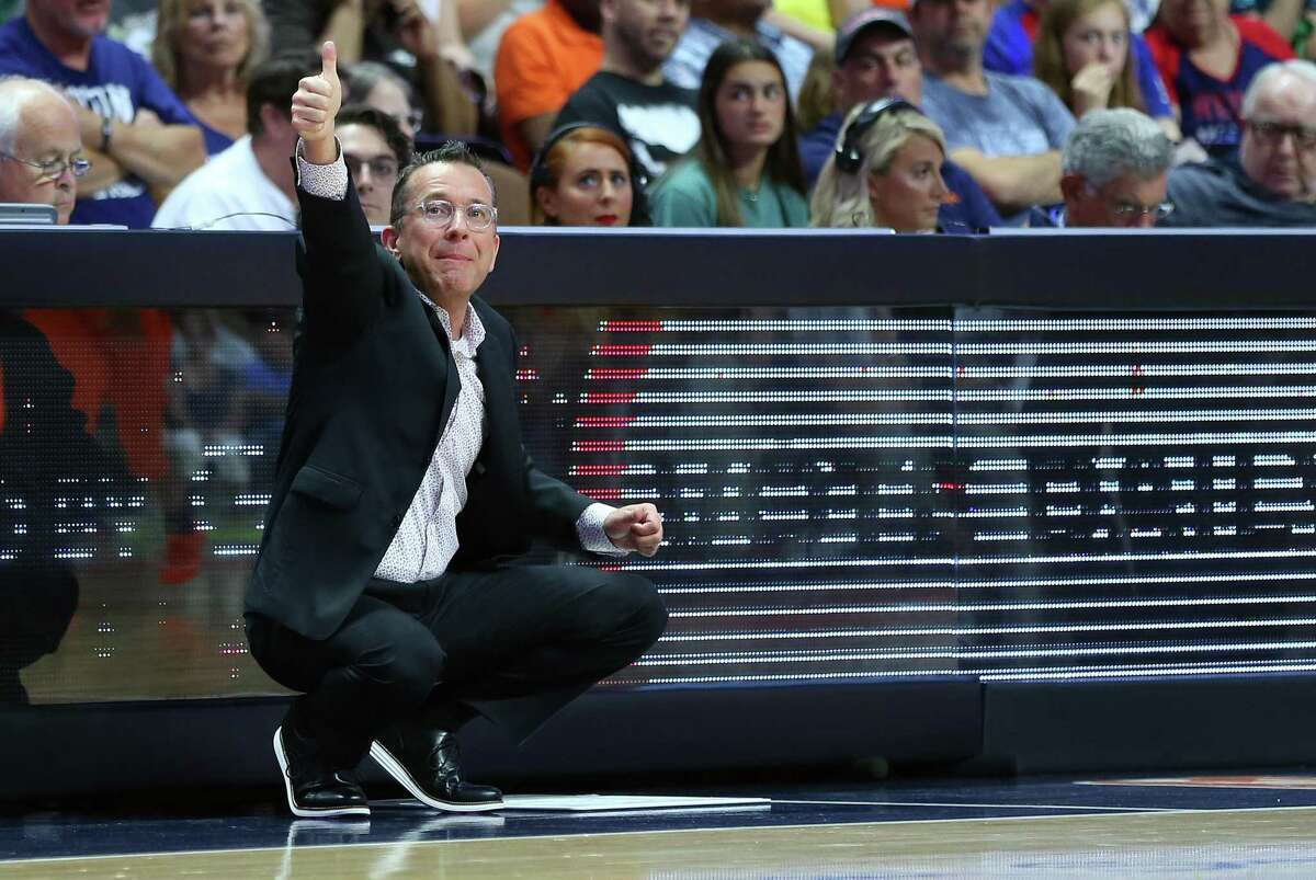 Connecticut Sun coach Curt Miller gives the thumbs up against Minnesota in August at Mohegan Sun arena.