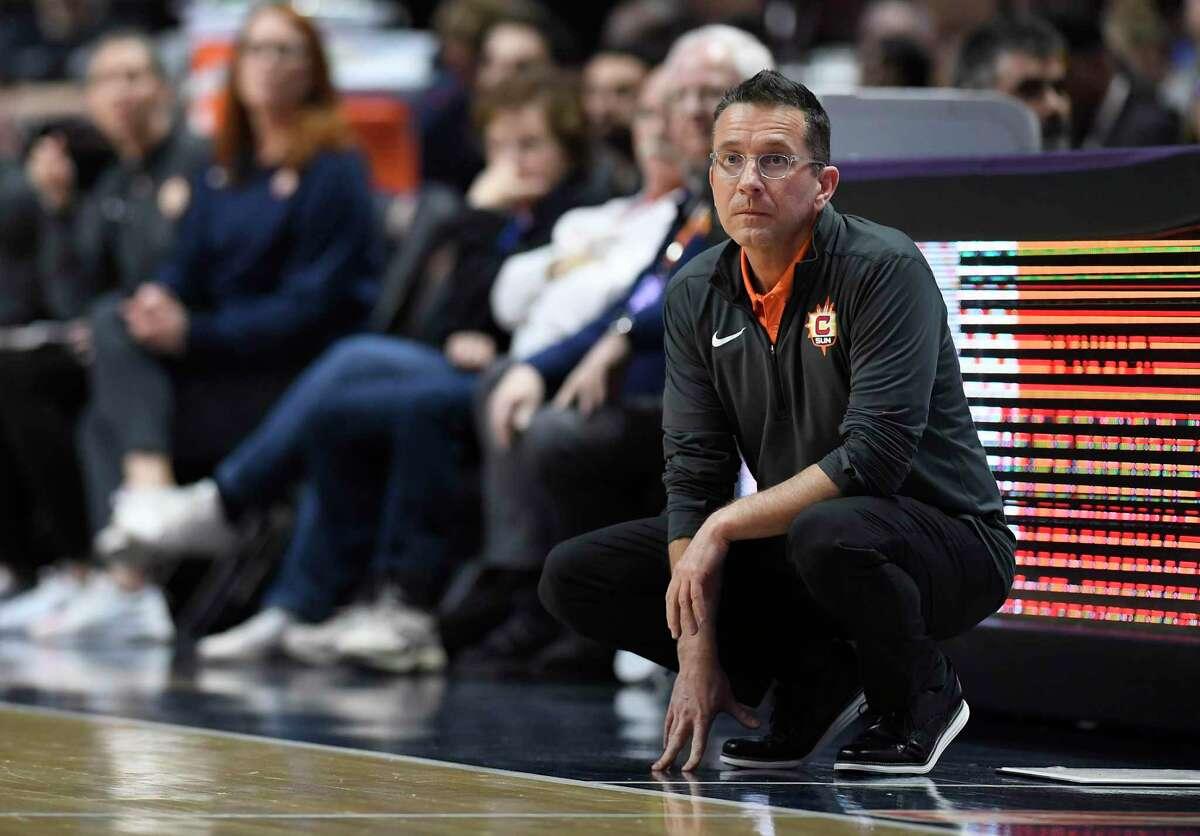 Connecticut Sun head coach Curt Miller during the first half of a preseason WNBA game last year in Uncasville.
