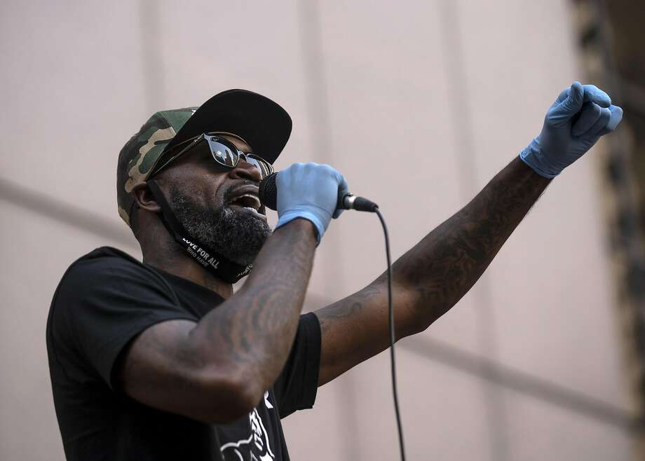 Stephen Jackson, friend of George Floyd, speaks at a demonstration outside the Hennepin County Government Center on June 11, 2020 in Minneapolis, Minnesota. The NBA analyst for ESPN was joined by other former NBA players Charles Oakley and Al Harrington during the rally calling for justice for George Floyd. (Photo by Stephen Maturen/Getty Images) Photo: Stephen Maturen, Getty Images