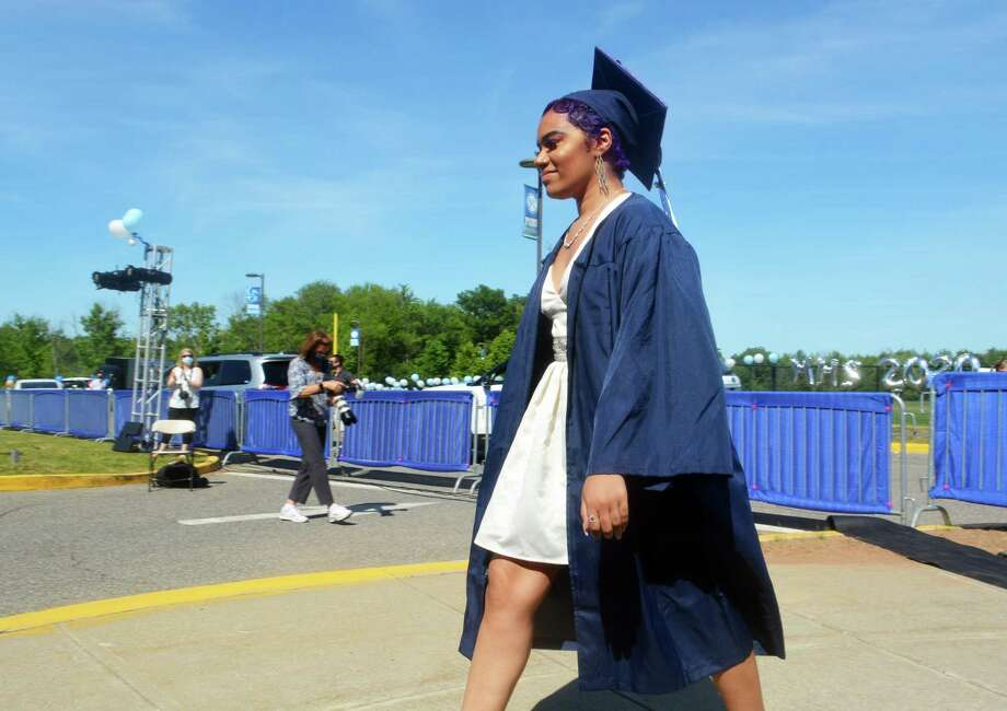The Middletown High School class of 2020 graduated 347 members Tuesday afternoon under sunny skies on La Rosa Lane. Photo: Cassandra Day / Hearst Connecticut Media