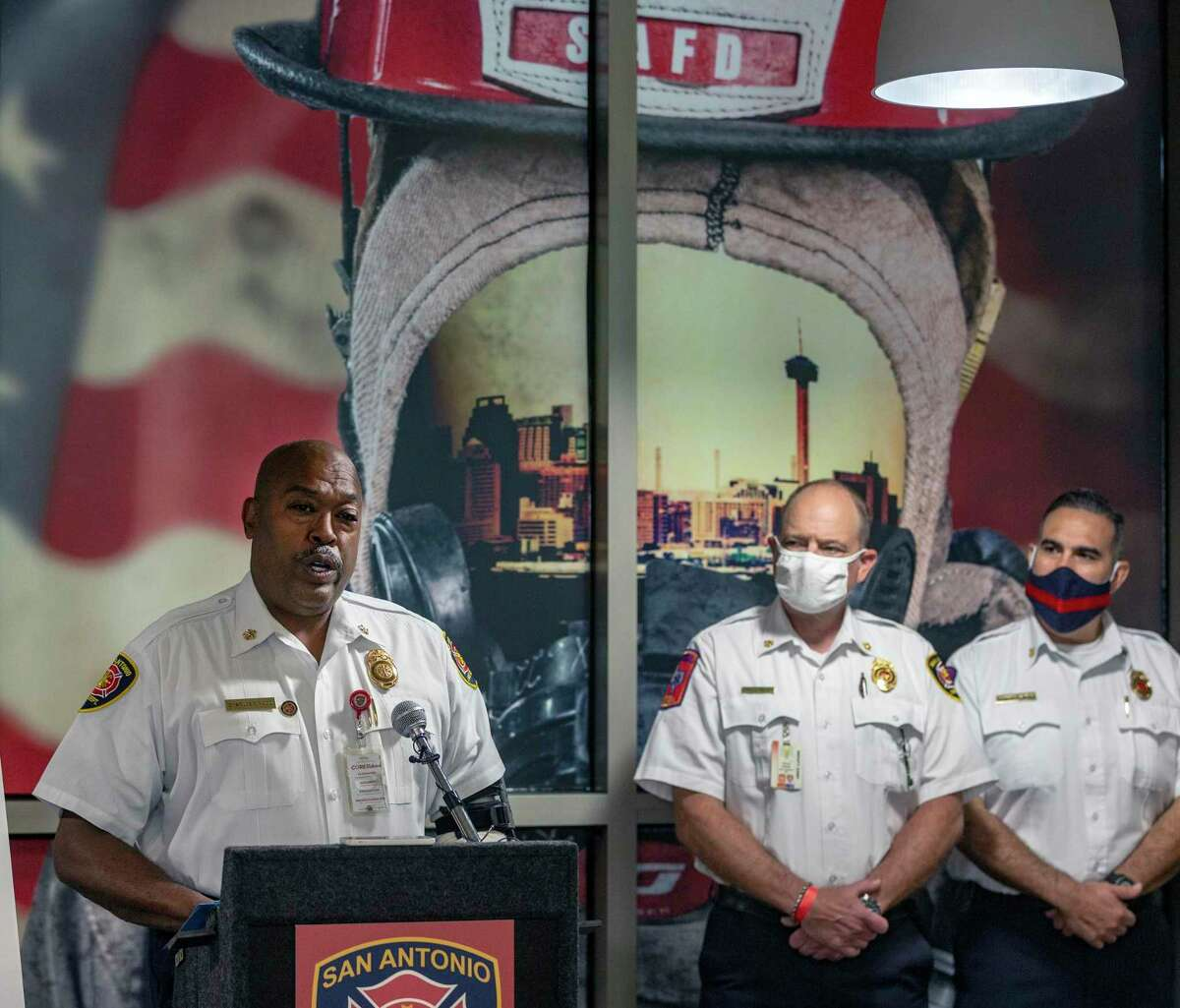 San Antonio Fire Department chief Charles Hood talks Tuesday, June 16, 2020 at the San Antonio Public Safety Headquarters about being named the Metro Fire Chiefs Association's Fire Chief of the Year. While accepting the award Hood spoke about the Black Lives Matter movement, challenges he faced as San Antonio's first black fire chief, his personal experiences with racism during his life, and how he talks to his sons about being black in America.