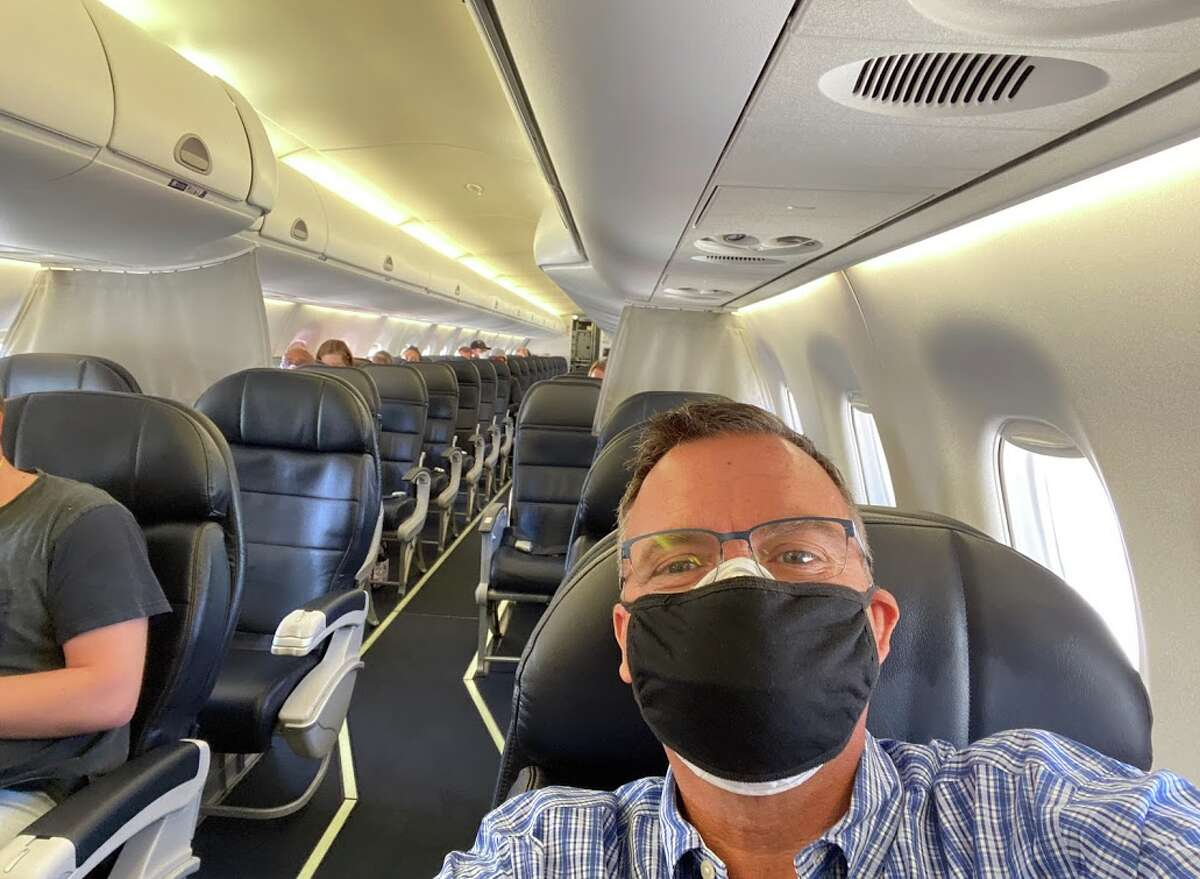 Alaska Airlines flight from San Francisco to Palm Springs during the Covid-19 pandemic, June 2020.