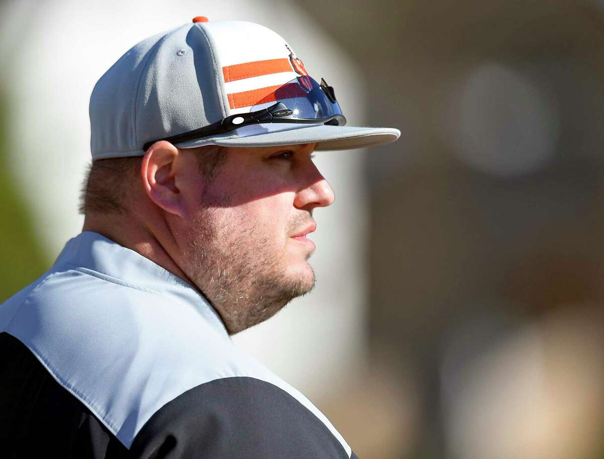 Stamford coach Rit Lacomis follows the game of an FCIAC baseball game Ridgefield on Wednesday, April 10, 2019 in Stamford, Connecticut. Ridgefield defeated Stamford 6-3.
