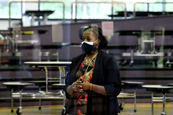 Albany School District Superintendent Kaweeda Adams observes district school budget and election ballot counting procedures on Tuesday, June 16, 2020, at Arbor Hill Elementary School in Albany, N.Y. (Will Waldron/Times Union)