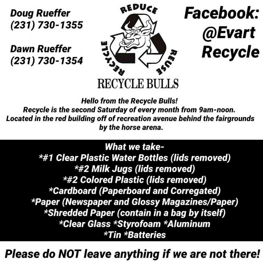 Evart Recycle resumed operations on June 13. Recycling can be dropped off the second Saturday each month at the Osceola County Fairgrounds. (Submitted photo)