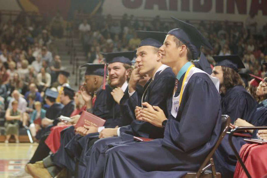 In this file photo, members of the Big Rapids High School Class of 2019 cheer for their fellow students as they receive their diplomas. Photo: Pioneer File Photo
