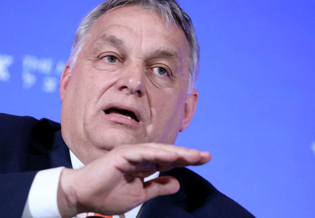Viktor Orban, Hungary's prime minister, speaks at the National Conservatism Conference in Rome on Feb, 4, 2020.