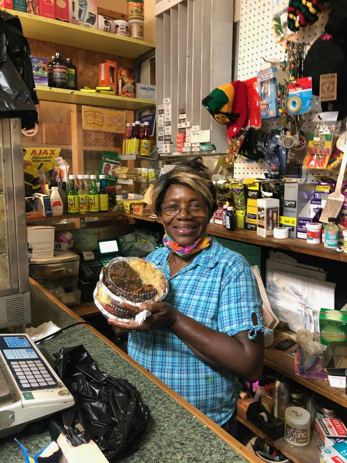 Paulette Clark at the West Indies Natural Food market.