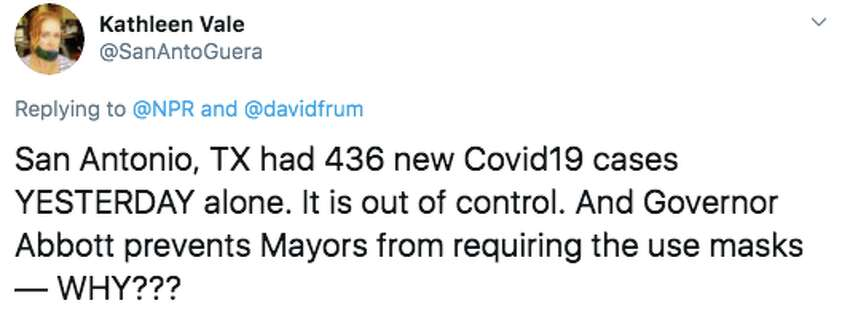 @SanAntoGuera tweeted that she doesn't understand why Gov. Greg Abbott is preventing mayors in Texas to mandate masks in their cities.
