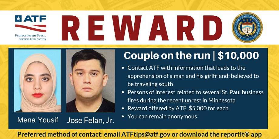 The U.S. Marshals and FBI are working closely with the ATF, to find Jose Felan Jr. and Mena Yousif. A $10,000 award is being offered by ATF for information leading to the arrest of both suspects. Photo: Bureau Of Alcohol, Tobacco, Firearms And Explosives