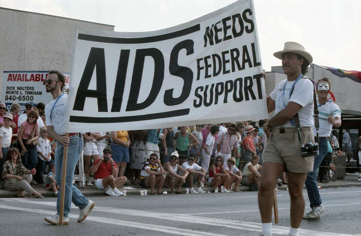 The six-day riot in New York known as the Stonewall Rebellion of 1969 is credited by many as the start of the LGBTQ rights movement in the U.S. Original caption: Gay pride parade along Westheimer, June 28, 1987.