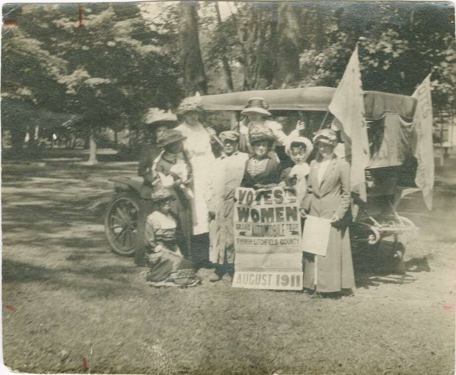 "Connecticut Woman Suffrage Association ""Grand Automobile Tour"" of Litchfield County, Connecticut, 1911. Greenwich resident Grace Gallatin Seton participated in a month-long car tour of Litchfield County in 1911, with the goal of creating local chapters of the state suffrage association. Photo: Greenwich Historical Society / Contributed Photo"