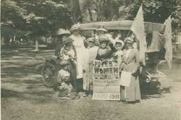 """Connecticut Woman Suffrage Association """"Grand Automobile Tour"""" of Litchfield County, Connecticut, 1911. Greenwich resident Grace Gallatin Seton participated in a month-long car tour of Litchfield County in 1911, with the goal of creating local chapters of the state suffrage association."""