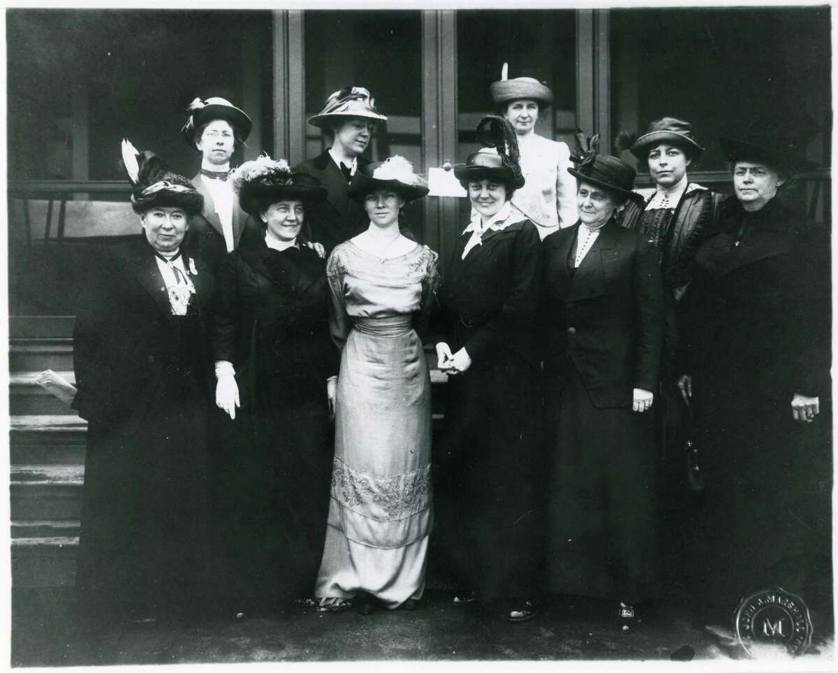 Executive Board of Connecticut Woman Suffrage Association, ca. 1909-1917. Caroline Ruutz-Rees, Greenwich resident and founding headmistress of Rosemary Hall, is second from left in the front row. Katharine Houghton Hepburn is to her right.