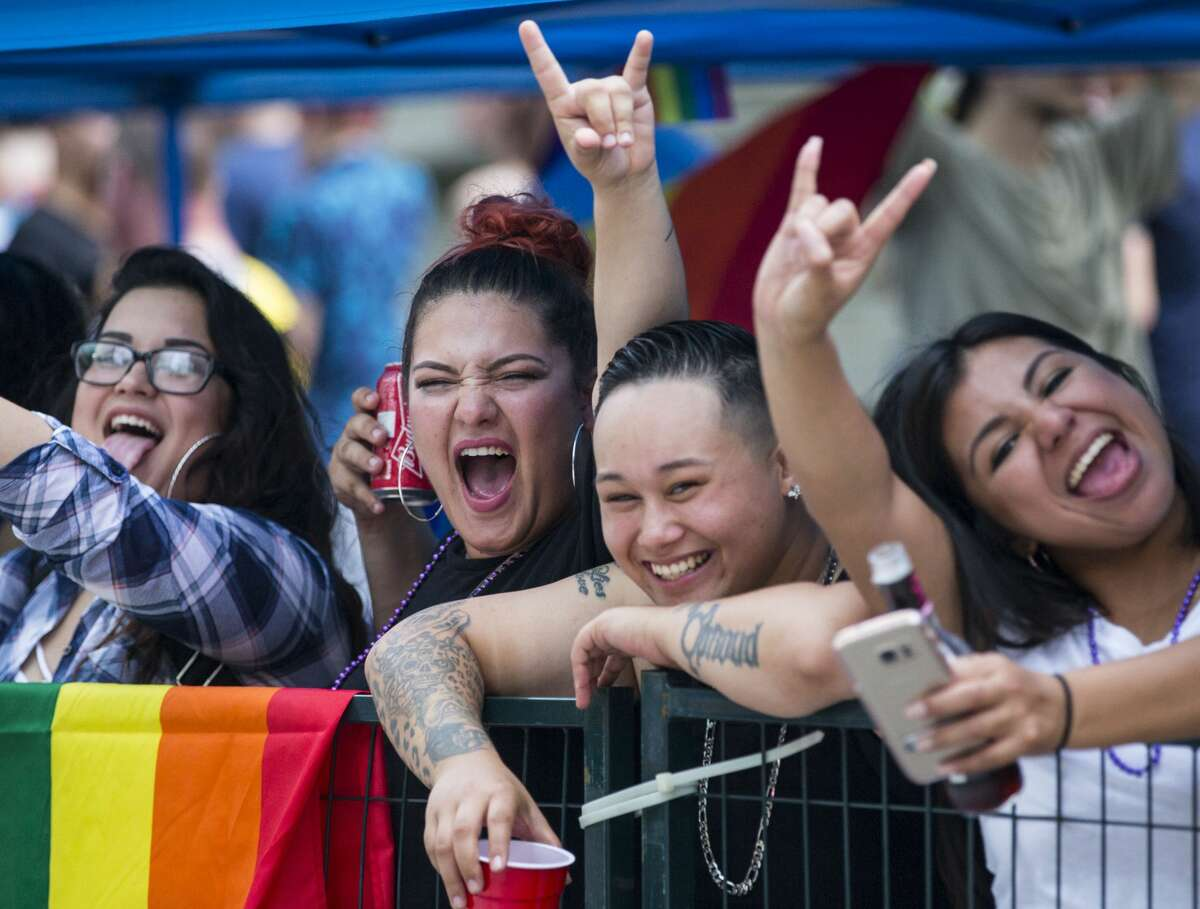 Parade goers cheer as they watch the annual Pride Parade on Saturday, June 24, 2017, in Houston. ( Brett Coomer / Houston Chronicle )