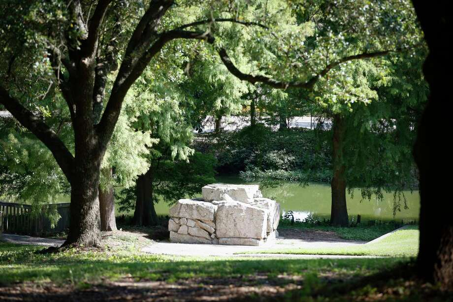 The Spirit Of the Confederacy statue was removed from the closed Sam Houston Park sometime Tuesday, photo of site photographed Wednesday, June 17, 2020, in Houston. Photo: Steve Gonzales, Staff Photographer / © 2020 Houston Chronicle