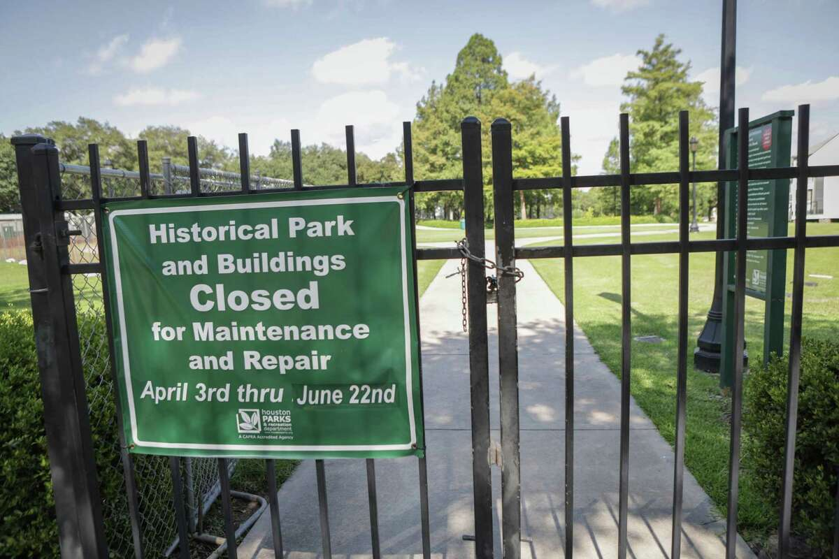 The Spirit Of the Confederacy statue was removed from the closed Sam Houston Park sometime Tuesday, photo of site photographed Wednesday, June 17, 2020, in Houston.