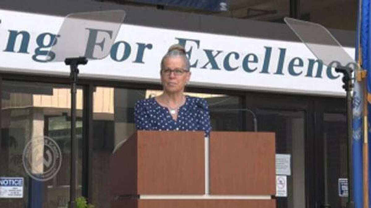 Kim Ely was the staff commencement speaker at Wilton High School's graduation celebration.