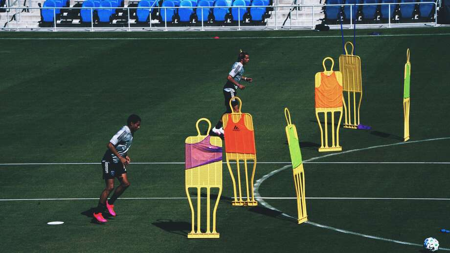 Earthquakes players Marco Lopez (left) and Cade Cowell train for the first time in months in San Jose, Calif. on June 9, 2020. Photo: Courtesy San Jose Earthquakes