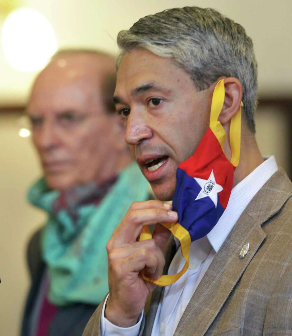 Mayor Ron Nirenberg, Bexar County Judge Nelson Wolff, and other city and county leaders held a press conference to announce a new executive order to help fight the resurgence of novel coronavirus, at the Bexar County Courthouse, on Wednesday, June, 17, 2020.
