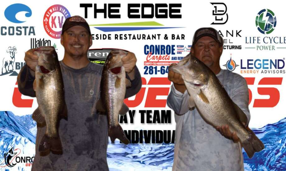 John Jay III and Dawson Schnautz won the CONROEBASS Tuesday night tournament with a stringer weight of 14.09 pounds. Photo: CONROEBASS