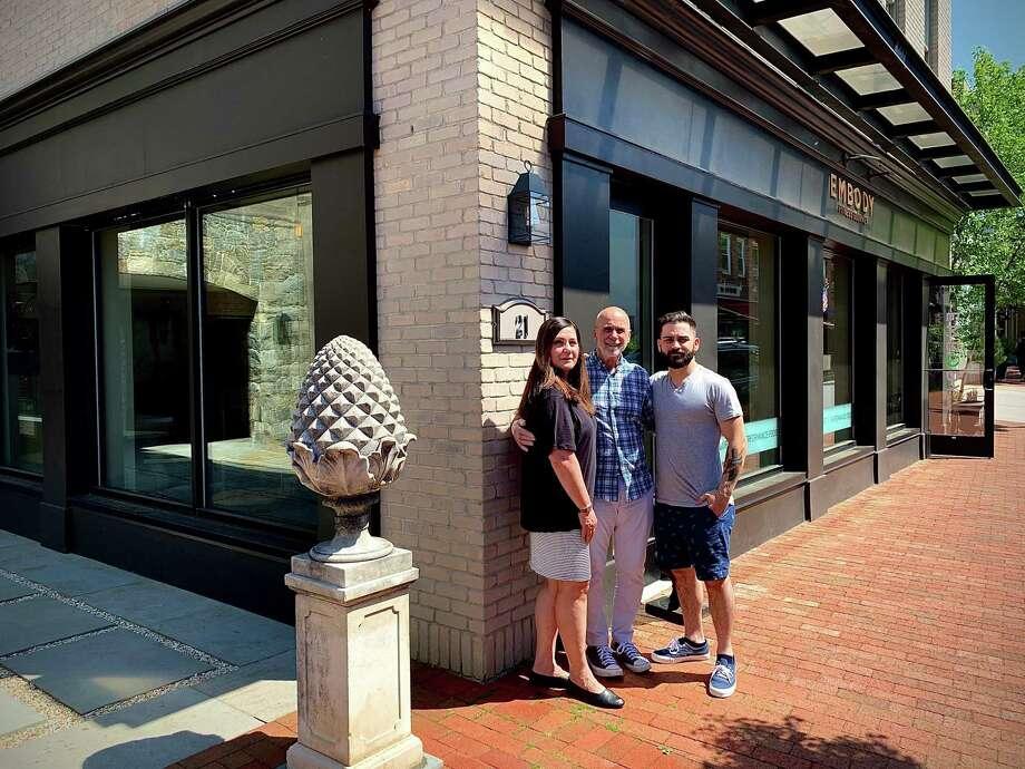 The Baldanza family,Angela Baldanza, her husband, Sandy Baldanza and their son, Alex Baldanza. Photo: Baldanza Café