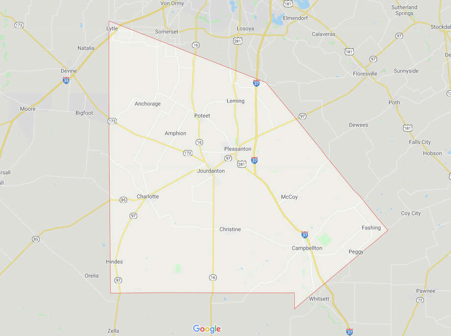 Atascosa County Precincts reporting: 24 of 24 Rep. — Donald Trump 12,020 (66.3%) Dem. — Joseph Biden 5,865 (32.4%) Atascosa County is south of San Antonio and includes Pleasanton and Jourdanton. It has an estimated population of about 51,153. Photo: Google Maps