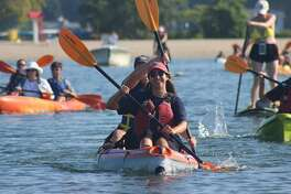 The Socially-Distant Kayak & Paddle Board Flotilla launches on Long Island Sound on July 18.