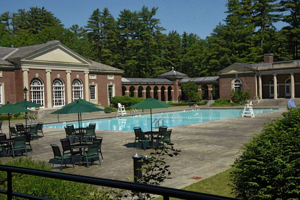 The Victoria Pool at Saratoga Spa State Park, normally bustling by now on hot days, is seen empty on Wednesday, June 17, 2020 in Saratoga Springs, N.Y. Public pools have not been allowed to open yet in the Capital District. (Lori Van Buren/Times Union)