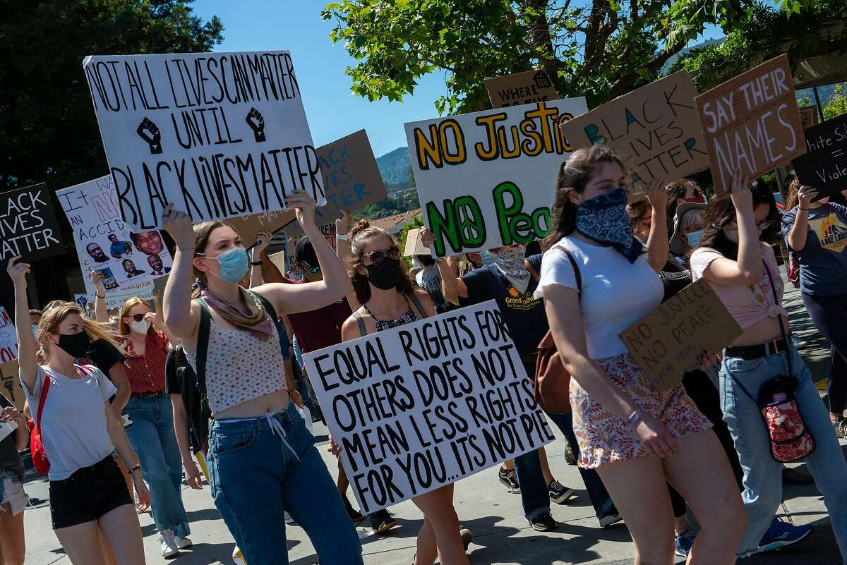 Hundreds of demonstrators participate in a protest organized by a group of young people to support Black Lives Matter on June 16, 2020 in Mill Valley, Calif.