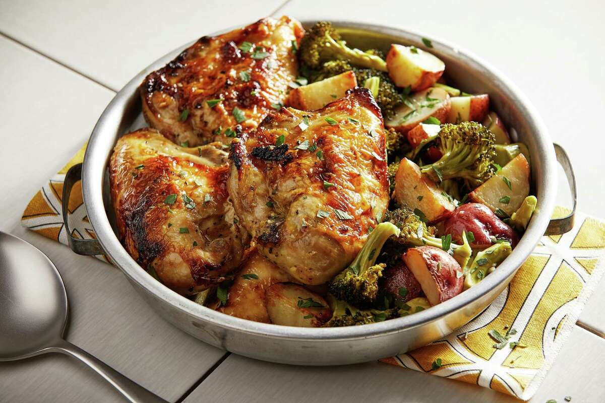 Sheet Pan Greek Roasted Chicken With Garlic Broccoli and Potatoes. MUST CREDIT: Photo by Tom McCorkle for The Washington Post.